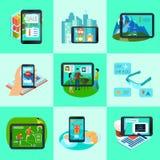 Iconos aumentados del cuadrado de la realidad fijados Fotos de archivo libres de regalías