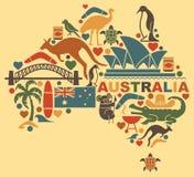 Iconos australianos bajo la forma de mapa Imagenes de archivo