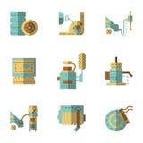 Iconos autos del plano de servicio fijados Imagen de archivo