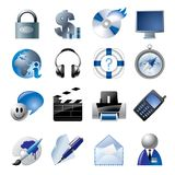 Iconos azules 1 del Web site y del Internet Foto de archivo libre de regalías