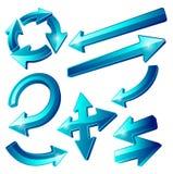 Iconos azules brillantes de la flecha Imagen de archivo