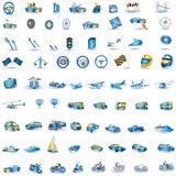Iconos azules claros del transporte Foto de archivo libre de regalías