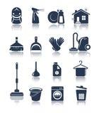 Iconos azules de limpieza Imagen de archivo libre de regalías