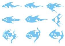 Iconos azules de los pescados Fotografía de archivo libre de regalías
