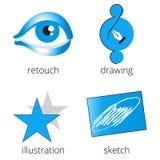 Iconos azules de los servicios de la imprenta fijados Parte 4 Foto de archivo libre de regalías