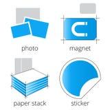 Iconos azules de los servicios de la imprenta fijados Parte 5 Fotos de archivo libres de regalías