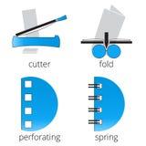 Iconos azules de los servicios de la imprenta fijados Parte 7 Fotos de archivo libres de regalías