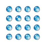 Iconos azules del edificio de la gota