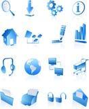 Iconos azules del Internet del Web