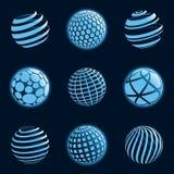 Iconos azules del planeta. Foto de archivo libre de regalías
