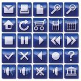 Iconos azules del web Fotos de archivo