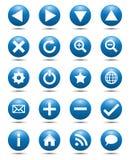 Iconos azules del Web de la navegación Fotografía de archivo libre de regalías