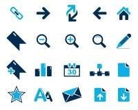 Iconos azules del web y de la oficina del vector común en la alta resolución Foto de archivo libre de regalías