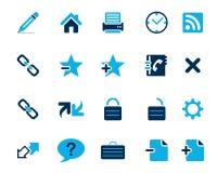 Iconos azules del web y de la oficina del vector común en la alta resolución Foto de archivo