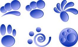 Iconos azules en un fondo blanco Imagenes de archivo