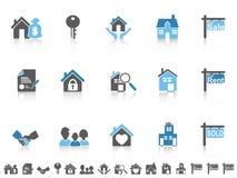 Iconos azules simples de las propiedades inmobiliarias del color fijados Fotos de archivo libres de regalías