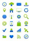 Iconos azulverdes de Internet fijados Fotografía de archivo