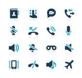 Iconos Azure Series del interfaz de las llamadas de teléfono stock de ilustración