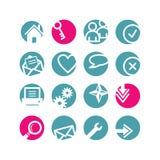 Iconos básicos del Web del círculo Fotos de archivo libres de regalías