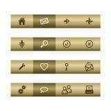 Iconos básicos del Web en la barra de bronce Fotos de archivo