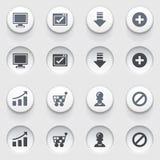 Iconos básicos del web en los botones blancos. Sistema 2. stock de ilustración