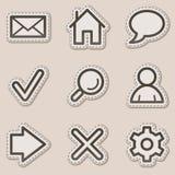 Iconos básicos del Web, serie marrón de la etiqueta engomada del contorno stock de ilustración