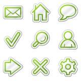 Iconos básicos del Web, serie verde de la etiqueta engomada del contorno Foto de archivo libre de regalías