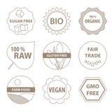 Iconos bio y sanos de la comida Fotografía de archivo