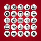 Iconos blancos de la barra fijados en fondo rojo Fotografía de archivo