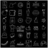 Iconos blancos de la cafetería de la raya Fotografía de archivo libre de regalías