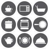 Iconos blancos de la comida del vector fijados Foto de archivo