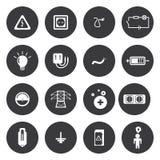 Iconos blancos de la electricidad del vector fijados Imagen de archivo libre de regalías
