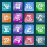 Iconos blancos de la medicina en los botones del color. Fotos de archivo
