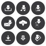 Iconos blancos de la transferencia directa del vector fijados Foto de archivo