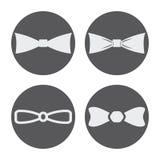 Iconos blancos de las corbatas de lazo del vector fijados Imagen de archivo libre de regalías