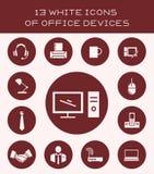 13 iconos blancos de los dispositivos de la oficina Imagen de archivo libre de regalías