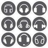 Iconos blancos del auricular del vector fijados Imagen de archivo