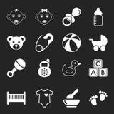 Iconos blancos del bebé Imagen de archivo