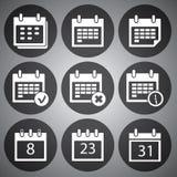 Iconos blancos del calendario del vector fijados Imagen de archivo libre de regalías