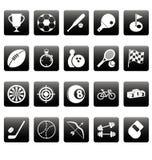 Iconos blancos del deporte en casillas negras Fotos de archivo libres de regalías