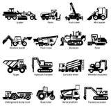 Iconos blancos del negro de las máquinas de la construcción fijados Imágenes de archivo libres de regalías