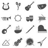 Iconos blancos del negro de los instrumentos musicales fijados Imagen de archivo libre de regalías