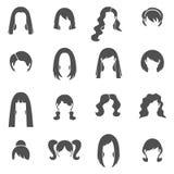 Iconos blancos del negro del peinado de la mujer fijados ilustración del vector