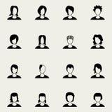 Iconos blancos del negro del peinado de la mujer fijados Imagenes de archivo