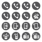 Iconos blancos del teléfono del vector fijados Fotografía de archivo libre de regalías