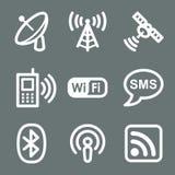 Iconos blancos del Web de la comunicación
