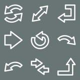 Iconos blancos del Web de las flechas del contorno Fotografía de archivo