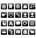 Iconos blancos del Web site en casillas negras Fotografía de archivo libre de regalías