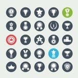 Iconos blancos determinados de los avards del vector grande Imagen de archivo