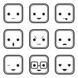 Iconos blancos y negros de la expresión de la cara Foto de archivo libre de regalías